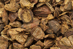 Organic cracked Chebulic Myrobalan or Choti Harad (Terminalia chebula). Royalty Free Stock Image