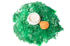 Organic cream  and green sea salt isolated. Organic cream  and green sea salt  with shells isolated Royalty Free Stock Images
