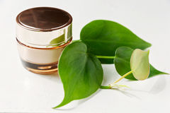 Organic creams, lotions for the face and body. royalty free stock photos