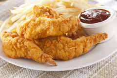 Organic Crispy Chicken Strips Stock Photo