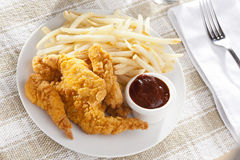Organic Crispy Chicken Strips Stock Photo