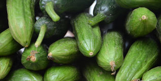 Organic cucumbers on a market Royalty Free Stock Photography