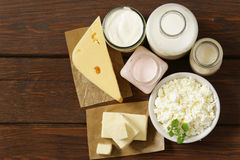 Organic dairy products - milk, sour cream, cottage cheese Royalty Free Stock Photo