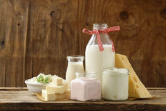 Organic dairy products - milk, sour cream, cottage cheese Royalty Free Stock Photography