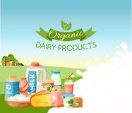 Organic dairy products vector illustration. Fresh, quality food banner, poster. Great taste and nutritional value. Milk royalty free illustration