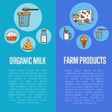 Organic dairy products vertical flyers Royalty Free Stock Image