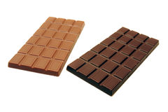 Organic Dark and Milk Chocolat. E Bars isolated on pure white background Royalty Free Stock Photos