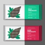 Organic dark and milk chocolate bar design. Choco packaging vect Stock Images
