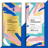 Organic dark and milk chocolate bar design. Luxury abstract choc. O packaging vector mockup. Trendy creative product branding template with label and pattern Royalty Free Stock Image