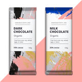 Organic dark and milk chocolate bar design. Luxury abstract choc. O packaging vector mockup. Trendy creative product branding template with label and pattern Stock Image