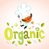 Organic decorative lettering with chef character Royalty Free Stock Photography
