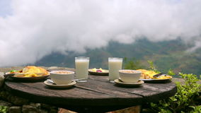 Organic delicious breakfast at himalayas mountain, nepal stock video