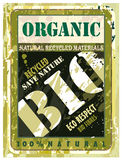 Organic Distressed Bio Label with Green Eco motive Stock Photo