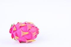 Organic dragon fruit (dragonfruit) or pitaya on white background healthy fruit food isolated Royalty Free Stock Photo