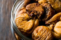 Organic Dried Figs in a jar Stock Photos