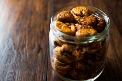 Organic Dried Figs in a jar Stock Images