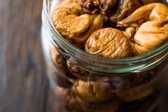 Organic Dried Figs in a jar Stock Photo