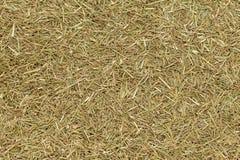 Organic dry lemongrass (Cymbopogon flexuosus) fine cut. Macro close up background texture. Top view Stock Photo
