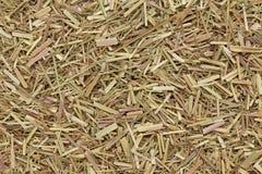 Organic dry lemongrass (Cymbopogon flexuosus) tea cut. Macro close up background texture. Top view Stock Image