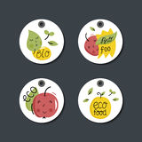 Organic, eco and bio food labels set. Royalty Free Stock Images