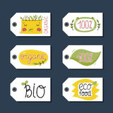 Organic, eco and bio food labels set. Stock Photography