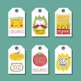 Organic, eco and bio food labels set. Stock Image