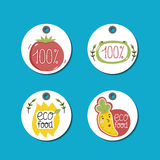 Organic, eco and bio food labels set. Royalty Free Stock Photography