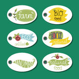 Organic, eco and bio food labels set. Stock Photo