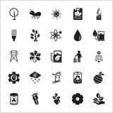 Organic, Eco, Bio, nature 25 black simple icons set for web Stock Image