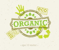 Organic Eco Food Creative Rough Design Concept. Eat Local Fresh Products Illustration On Grunge Background. Organic Eco Food Creative Rough Design Concept. Eat Royalty Free Illustration