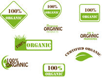 100 % Organic. 9 eco icons for 100% organic products Stock Image