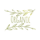 Organic Eco Label. Green Vector Handdrawn Organic Eco Label Isolated on White Stock Photos