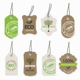 Organic eco natural label set isolated on white. Organic eco natural label set. Ecology bio farm fresh products cardboard tags isolated Royalty Free Stock Photos