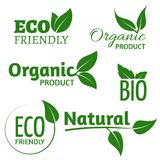 Organic eco vector logos with green leaves. Bio friendly products labels with leaf vector illustration