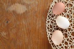Organic eggs border Stock Images