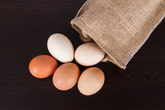 Organic Eggs with Sackcloth Royalty Free Stock Photo