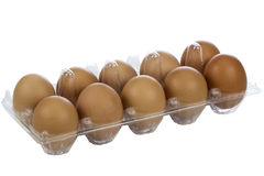 The 12 organic eggs on tray Royalty Free Stock Photos