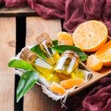 Organic essential tangerine, mandarin, clementine oil Stock Photos