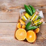 Organic essential tangerine, mandarin, clementine oil Royalty Free Stock Images