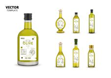 Organic extra virgin olive oil glass bottles. Organic extra virgin olive oil realistic glass bottles with labels. Layout of food identity branding, modern stock illustration