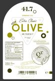 Organic extra virgin olive oil label. Template. Layout of food identity branding, modern packaging design. Healthy agriculture product, natural vegetarian stock illustration