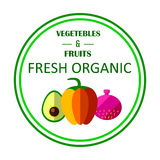 Organic farm concept with fruits, vegetables and custom typography. royalty free illustration