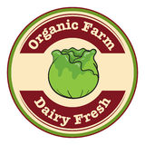 An organic farm and dairy fresh label Stock Images