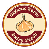 An organic farm and dairy fresh label Stock Image