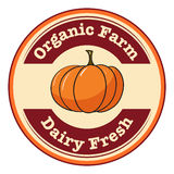 An organic farm and dairy fresh label Royalty Free Stock Image