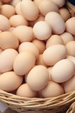 Organic farm eggs in a basket, close up Royalty Free Stock Photo