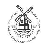 Organic farm, farming product fresh draft logo. Black and white retro vector Illustration Royalty Free Stock Images