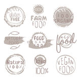 Organic Farm Food Grey Logo Set. Organic Farm Food Grey Set Of Product Logo Design. Cool Flat Vector Design Template On White Background Stock Illustration