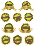 Organic Farm Fresh Labels Illustration. Organic Farm Fresh All Natural Gluten Free Premium Quality Labels Ilustration  on White Background Stock Images