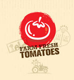 Organic Farm Fresh Tomatoes Creative Food Market Vector Design Element. Eat Local Concept On Craft Paper Background. Royalty Free Stock Image